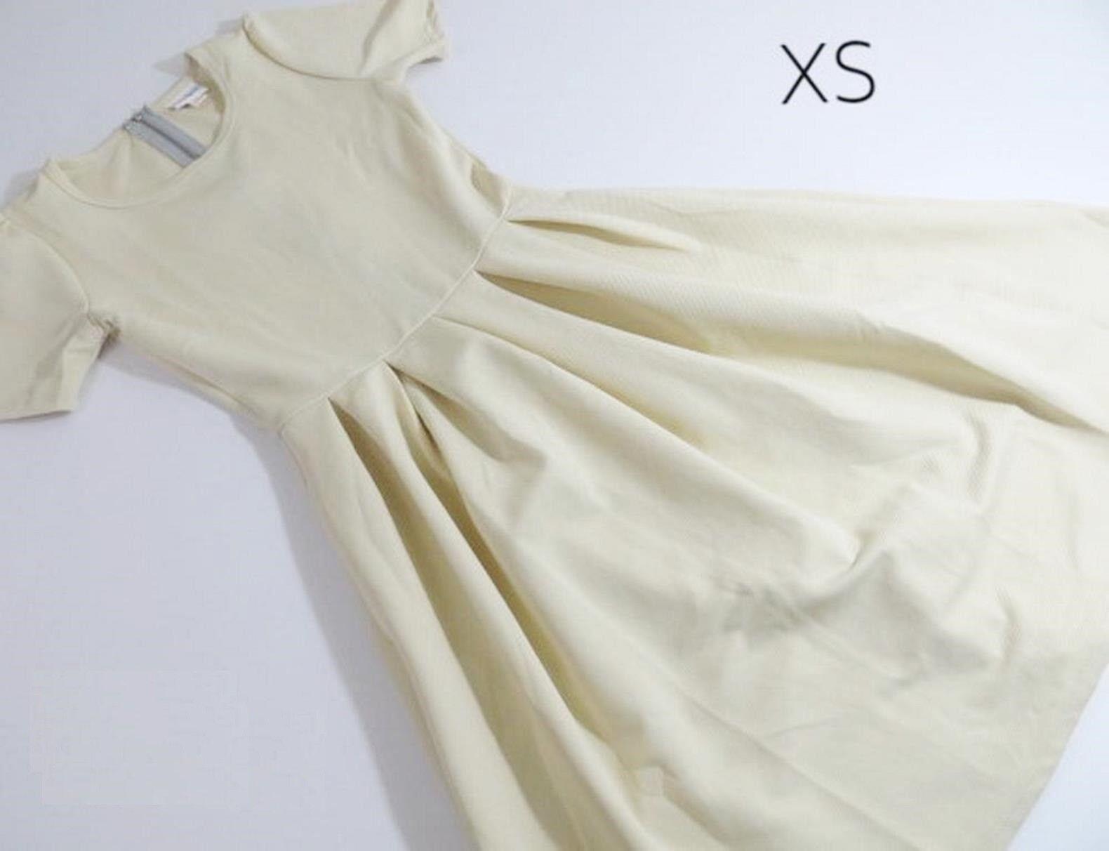 NWT Lularoe Size XS Solid Cream Horizontal Ribbed Women's Amelia Dress