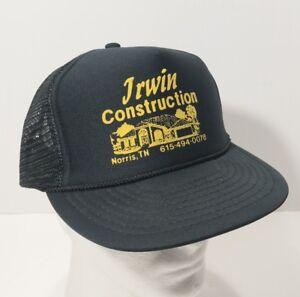 Image is loading Vintage-Irwin-Construction-Norris-Tn-Mesh-Snapback-Trucker- 12be24d68c5