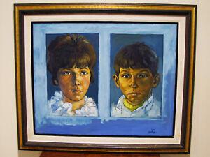 KS-CITY-ARTIST-ROBERT-KALTHOFF-OIL-ON-CANVAS-PAINTING-YOUNG-GIRL-amp-BOY-24-034-X-30-034
