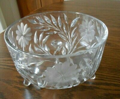 Salad Bowl Clear Glass Etched Crystal Bowl Floral Design Footed Bowl Centerpiece