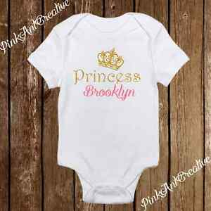 Custom Name Sparkle Princess Crown Cute Baby Girl Clothes
