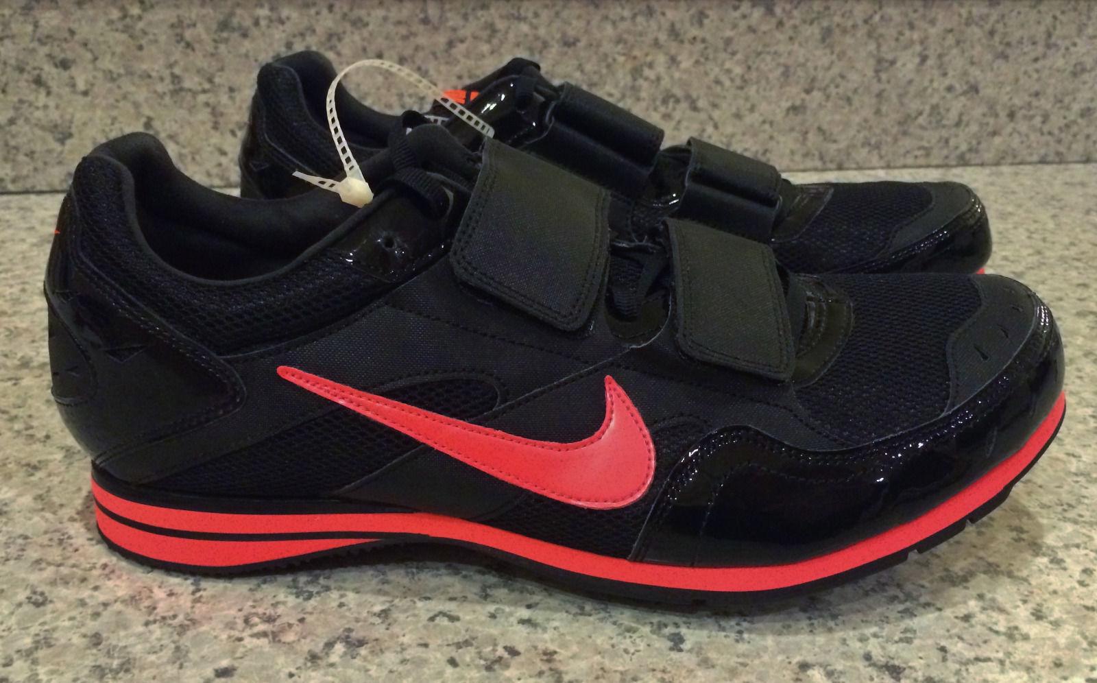 NIKE ZOOM TJ 3 Black Atomic Red Triple Jump Track Spikes Shoes New Mens Sz 12 15