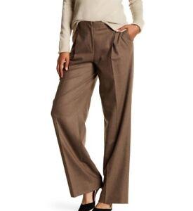 LAFAYETTE-148-Womens-Brown-RIVINGTON-Wide-Leg-Single-Pleat-Wool-Pant-Size-14-NWT