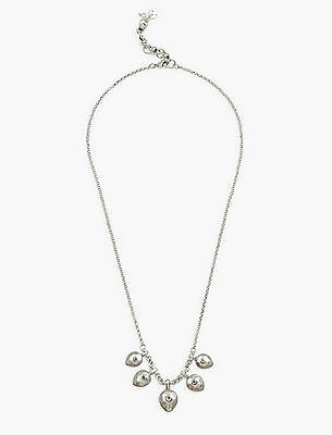 NWT Lucky Brand Silver-Tone Crystal Teardrop Statement Necklace