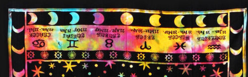 Indian Traditional Multi Horoscope Wall Hanging Ethnic Cotton Hippie Tapestry