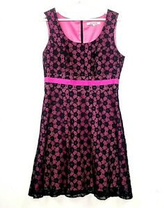 Review Women's Size 12 Black Pink Sleeveless Lace Bow Waist Knee Length Dress