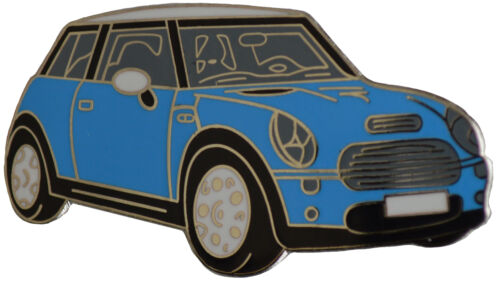 New MINI car cut out lapel pin Electric blue