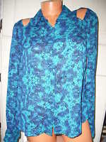 Womens L'amour Long Sleeve Blue Print Cut Out Shirt Sz L