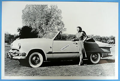 """12 By 18"""" Black & White Picture 1951 Ford Convertible Top Down"""