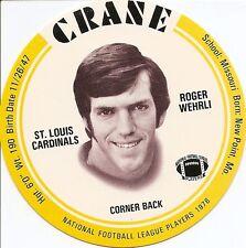 ROGER WEHRLI 1976 CRANE Potato Chips DISCS Football CARD St. Louis CARDINALS HOF