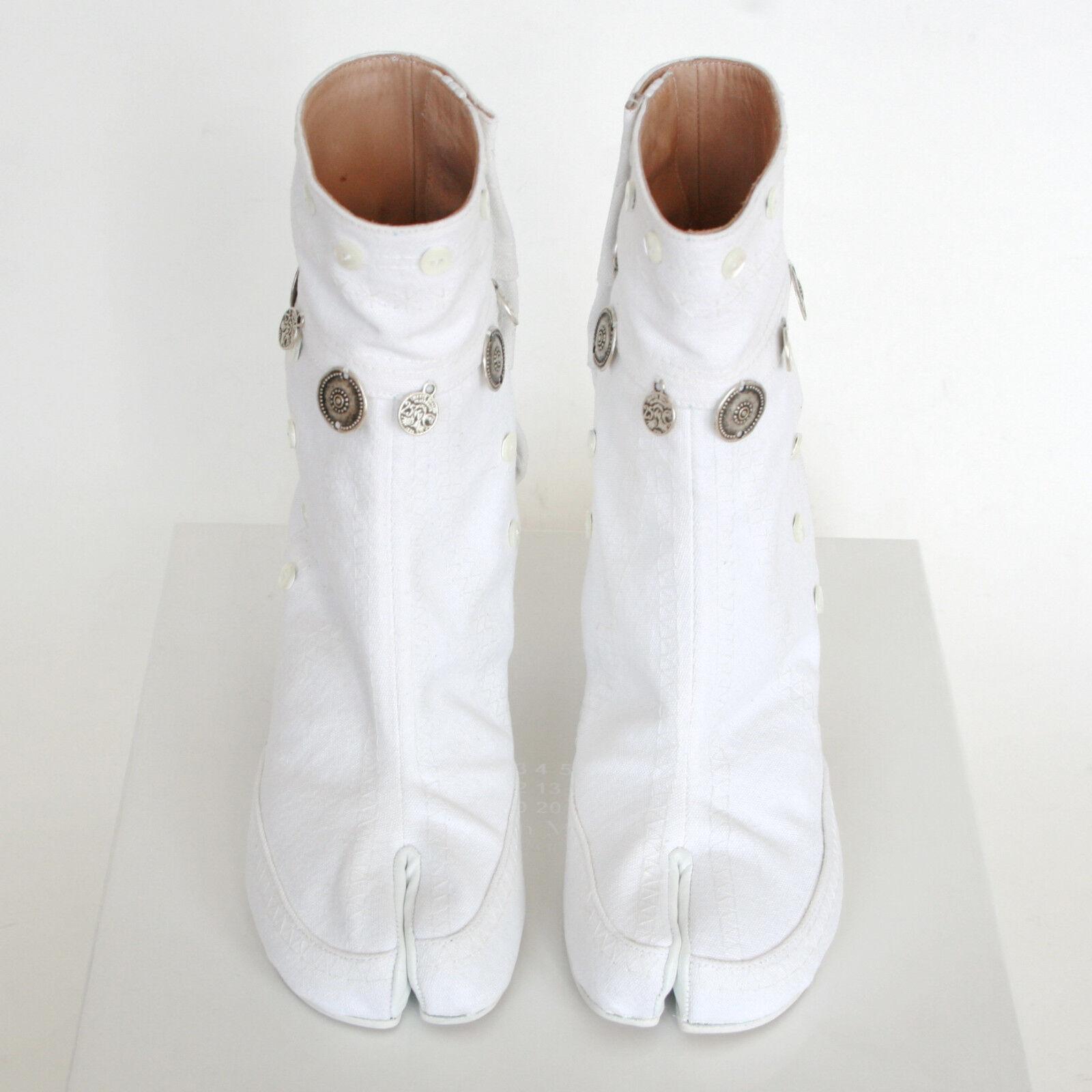 MAISON MARTIN MARGIELA split toe gypsy coin embroidered embroidered embroidered white tabi boots 37 NEW 8116da