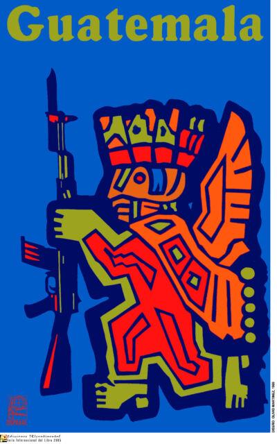Political OSPAAAL POSTER.GUATEMALA Maya Inca Aztec.Cold war Revolution Art.am70