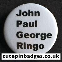 "The Beatles John Paul George Ringo Badge (25mm/1"") Pin Button Rare 1960s Cavern"
