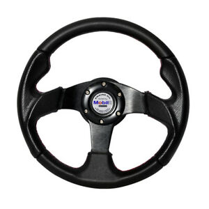 320mm-6-Bolt-Racing-Steering-Wheel-Black-PVC-Leather-Red-Stitch-w-Mobil-White