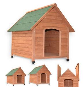 XXL-Hundehuette-96cm-Massivholz-3-Groessen-Dachluke-Hundehaus-Hunde-Haus-Huette