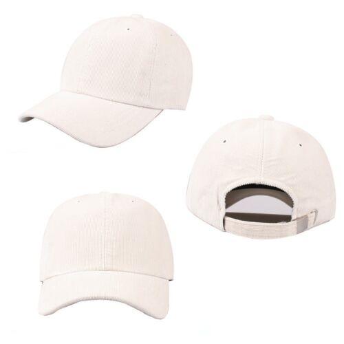 Unisex Mens Womens Solid Color Corduroy Cord Baseball Cap Strapback Trucker Hats