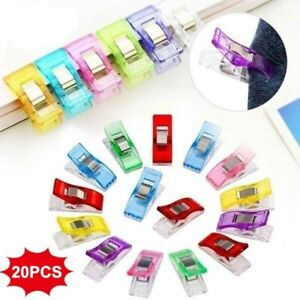 20pcs-Colorful-Sewing-Clips-Clamps-For-Quilting-Fabric-Craft-Knitting-Crochet-US