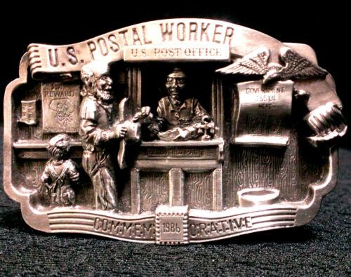 POSTAL WORKER BELT BUCKLE LIMITED EDITION ~~ NEW ARROYO GRANDE 1986 PEWTER U S