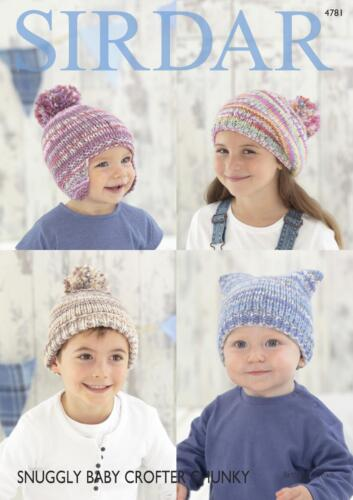 Sirdar 4781 Knitting Pattern Baby Childrens Hats in Snuggly Baby Crofter Chunky