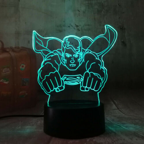 SUPERMAN  3D Acrylic LED 7 Colour Night Light Touch Table Desk Lamp Gift