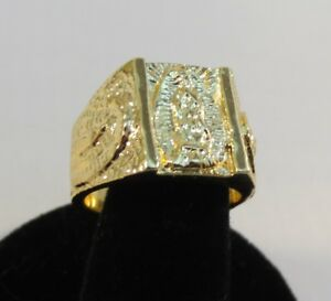14 KT GOLD PLATED LUCKY HORSESHOE CLEAR CUBIC ZIRCONIA RING,SIZES 6-13