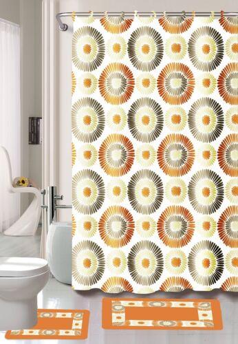 Printed 15-Piece Bathroom Set Bath Rugs Shower Curtain /& Rings New Safari Flower
