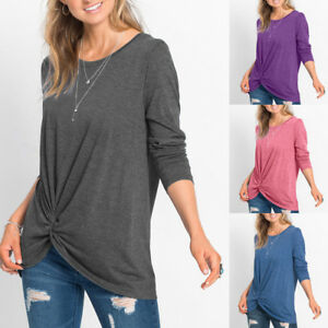 Women-Casual-O-Neck-Long-Sleeve-Front-Side-Knot-Twist-Top-T-Shirt-Blouse-HTNW