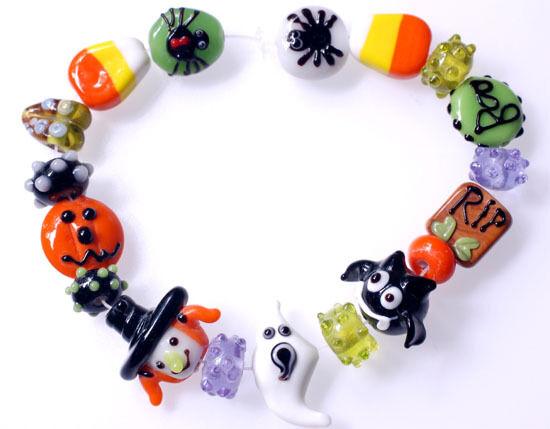 18 Halloween lampwork Glass Beads Rip BOO lot3