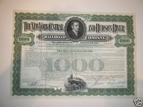 New York Central and Hudson River $1,000 Gold Bond /'40s