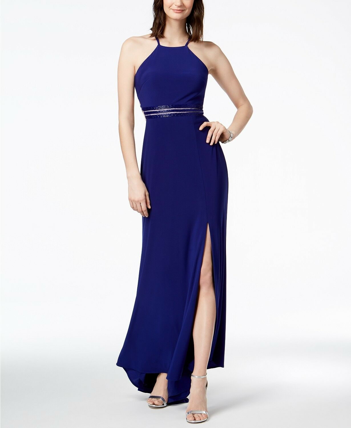 229 NIGHTWAY Womens blueE Strappy Beaded LONG GOWN A-LINE SLIT DRESS SIZE 14