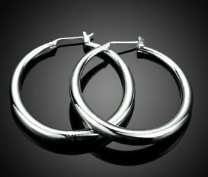 18K-White-Gold-Plated-1-034-Thin-Solid-Hoop-Earrings-Silver-Hoops