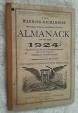 1924 Warrock Richardson Almanac Maryland Virginia North Carolina Saunders