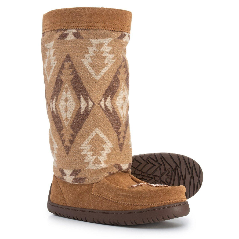 NEW Manitobah Mukluks, Full Wool Suede, Oak, Beading, Women Size 5,  220