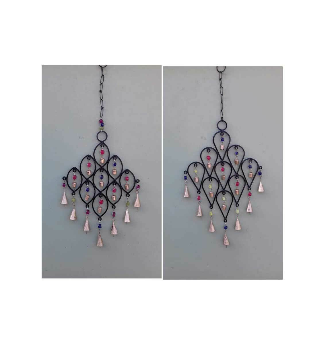 Recycled Iron Bells Teardrop Wind Chime with Beads & Bells Suncatcher Indian 2Pc