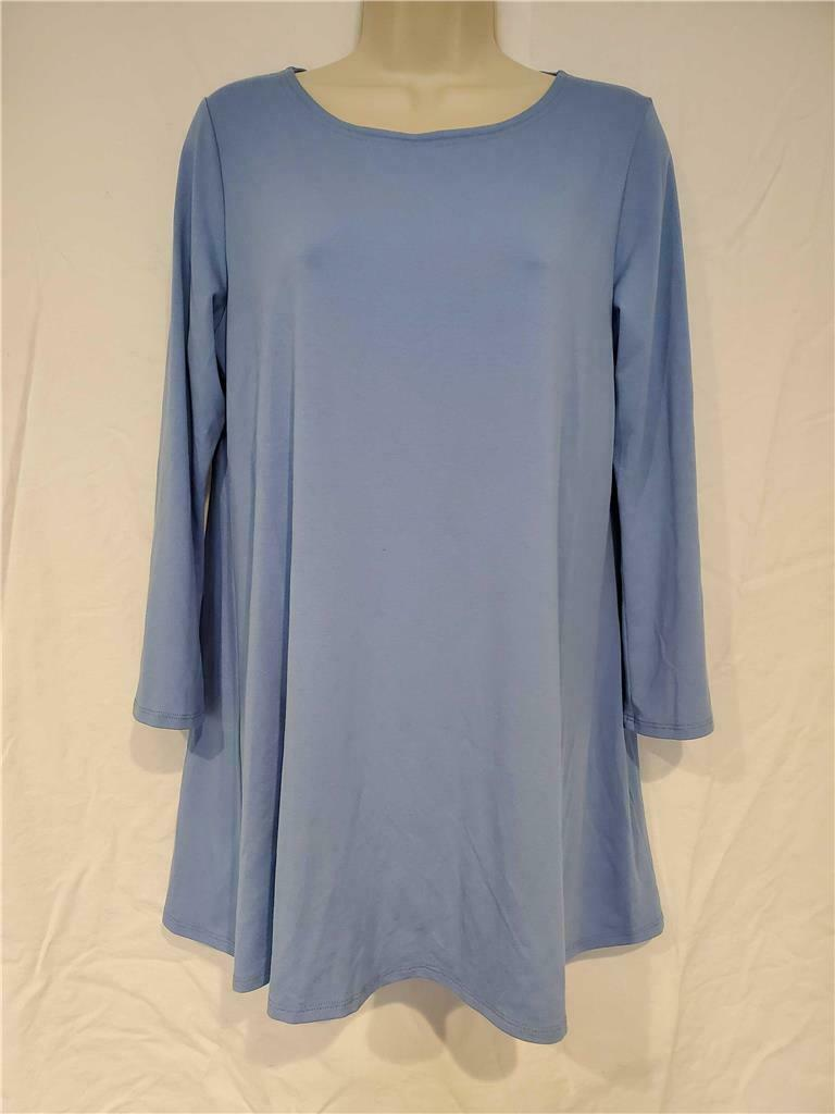 NWT EILEEN FISHER Light Blau Viscose A Line Long Sleeve Tunic Größe PL