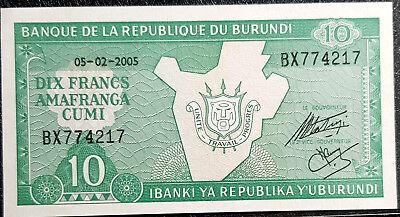 2005 Burundi 10 Francis Banknote Unc Rare (+ 1 Free B/note) #d5454