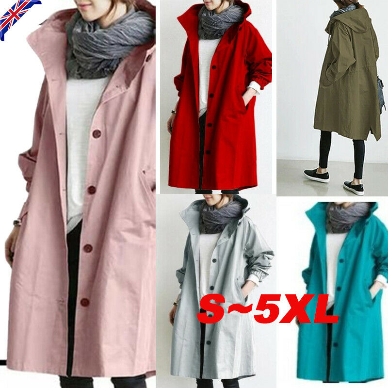 UK Womens Oversize Hooded Trench Coat Lady Outdoor Wind Rain Forest Jacket S-5XL