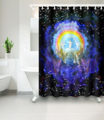 "72//79/"" Bathroom Decor Shower Curtain Liner Decor Nativity of Jesus Night Angel"