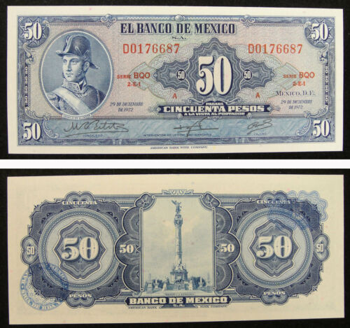 Mexico Paper Money 50 Pesos 1972 UNC