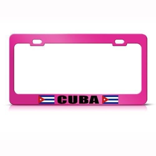 CUBA CUBAN FLAG PINK License Plate Frame Tag Holder