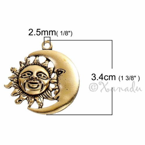 5 Or 10PCs Sun And Moon Antiqued Gold Plated Celestial Charm Pendants C4679-2