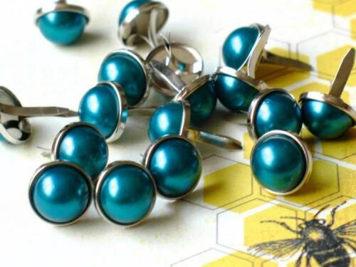 PEACOCK Silver Trim Scrapbook Turquoise Teal 10pc 12mm PEARL BRADS