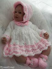 DK Baby Girls Knitting Pattern #45 TO KNIT Dress Bonnet Shoes - Reborn Dolls