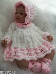 DK Baby Girls Knitting Pattern  45 TO KNIT Dress Bonnet Shoes ... 1da6ccae917