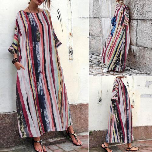 ZANZEA Damenmode Sommer Kleid Floral Beach Kaftan Streifen Maxikleid Kleid Dress