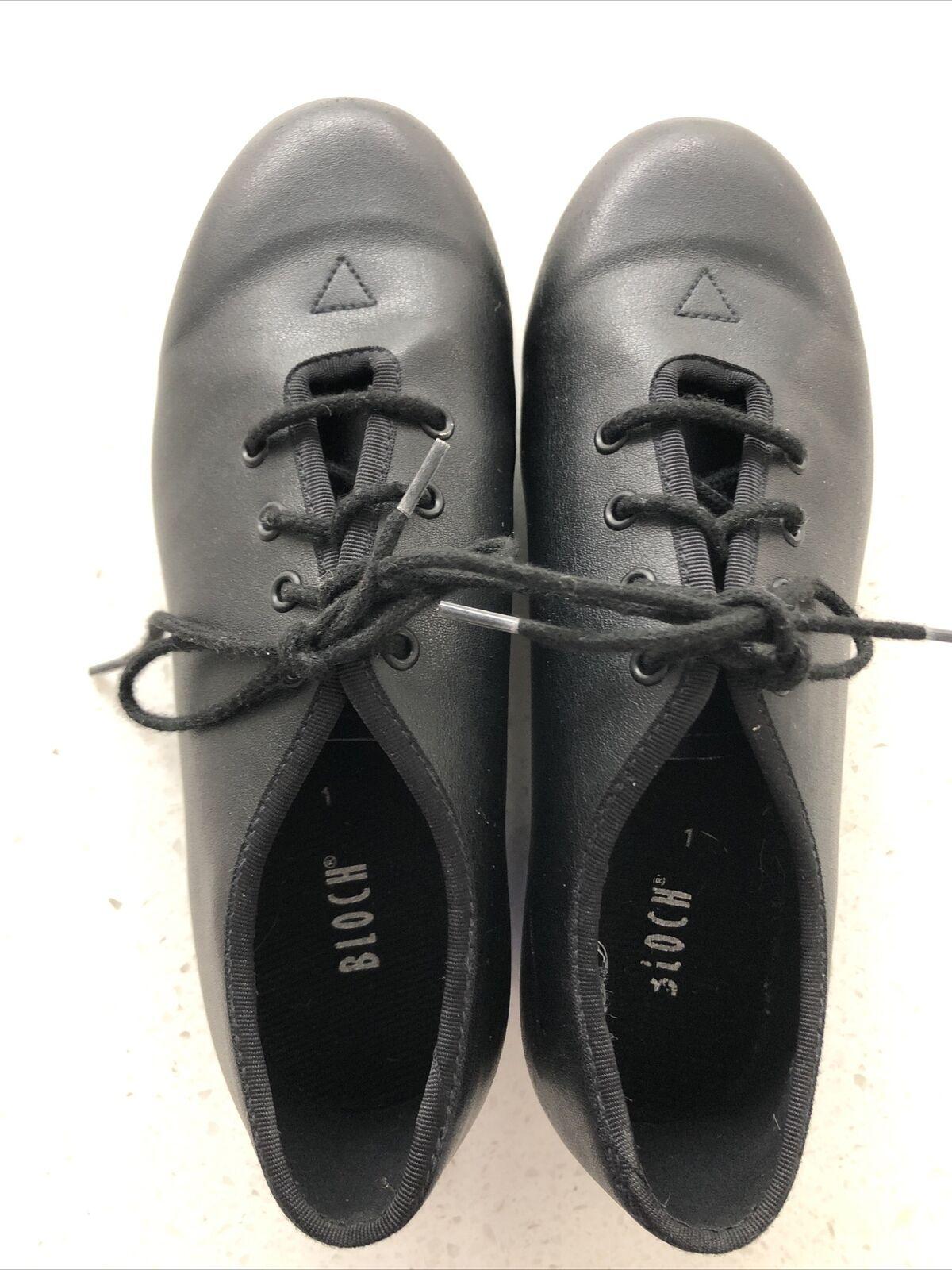 BLOCH Jazz Tap Leather Tap Shoes Black Size UK 1 Excellent Condition.