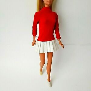 Vintage-Barbie-Clone-Red-Mini-Dress-w-White-Tennis-Shoes-70s-Charly-Maddie-Mod