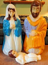 "39"" EMPIRE LIFE SIZE NATIVITY SET CHRISTMAS BLOW MOLD LIGHT UP YARD DECOR JESUS"