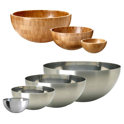 Bambus-Schüssel 4er-Set niedrig 15,24cm 20,32cm 25,40cm 30,48cm Salatschüssel De