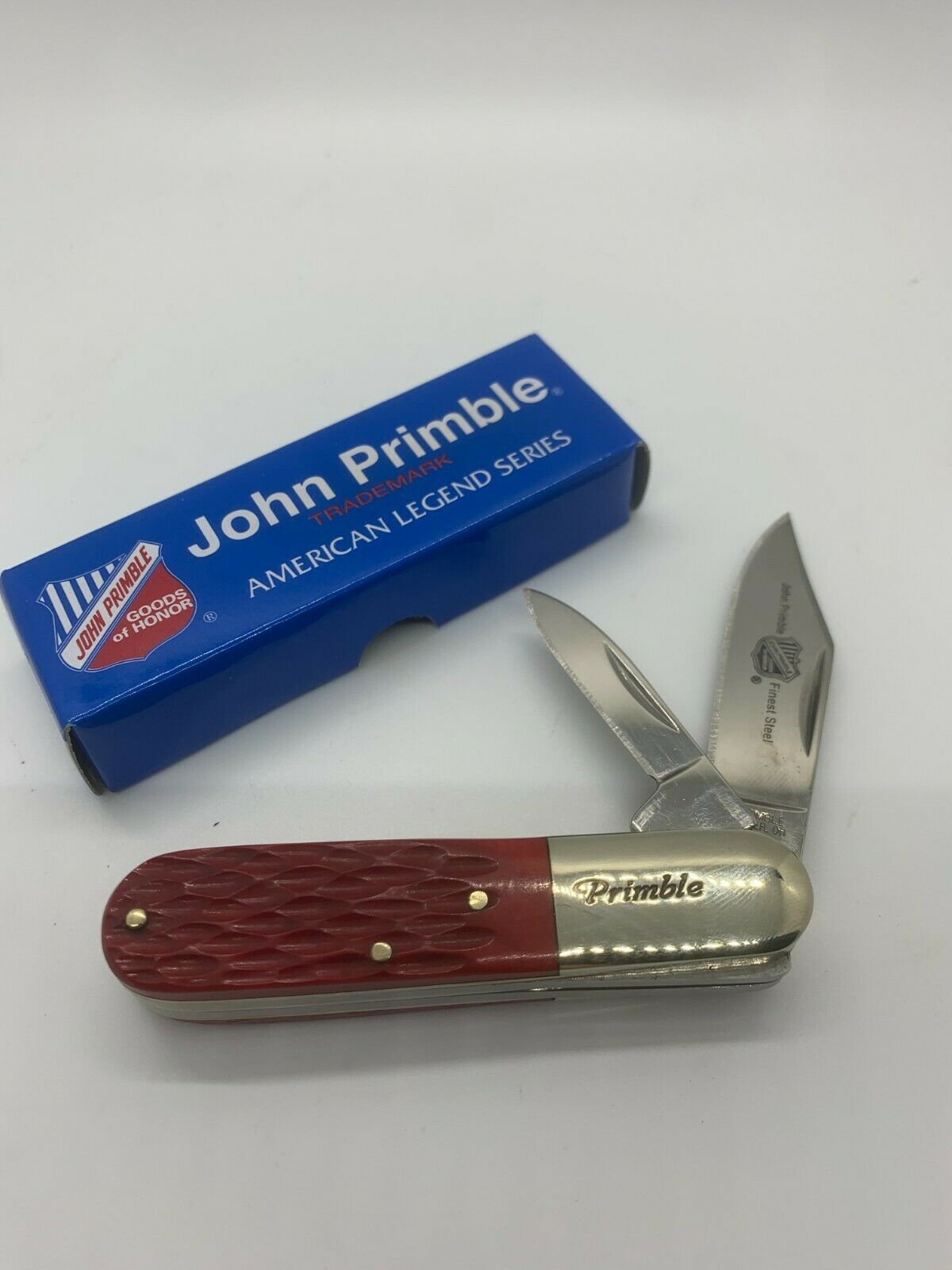 JOHN PRIMBLE 2-BLADED BARLOW KNIFE - RED JIGGED BONE - JP 30 0020RJB - NIB